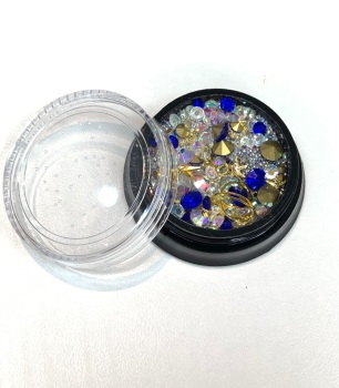 Sapphire Blue, AB, Gold & Silver Nail Jewellery Mix