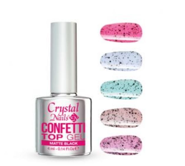 Crystal Nails Confetti Top Gel - Matte Black