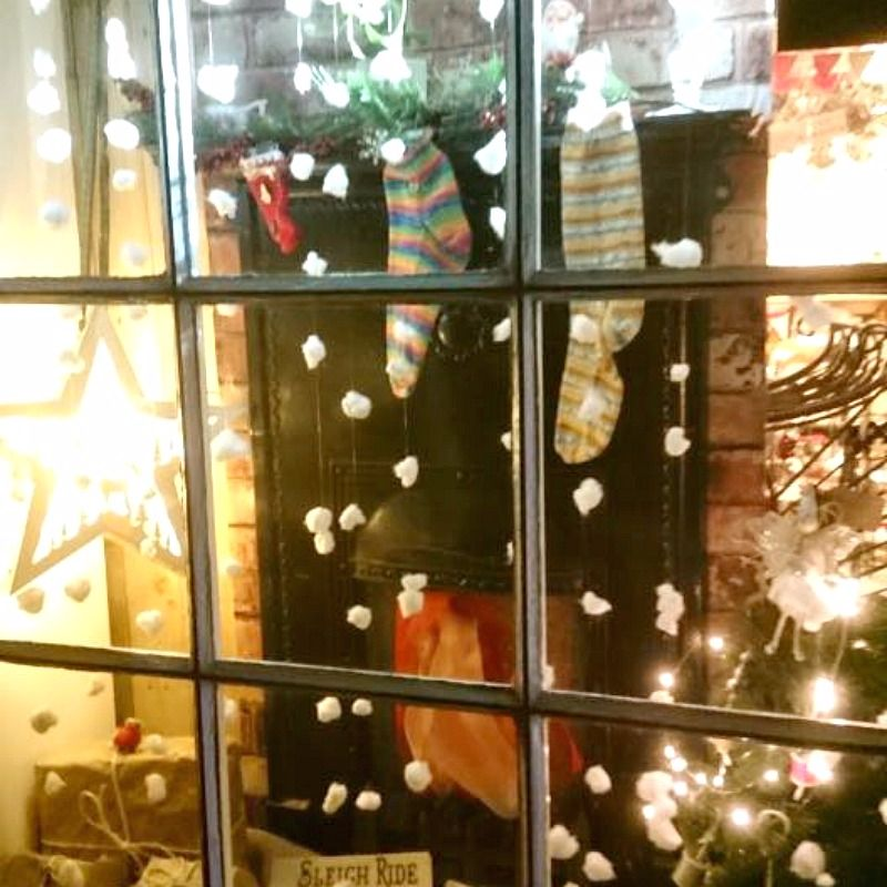 Christmas Window Display at Prima Rosa in Salhouse, Norwich, Norfolk