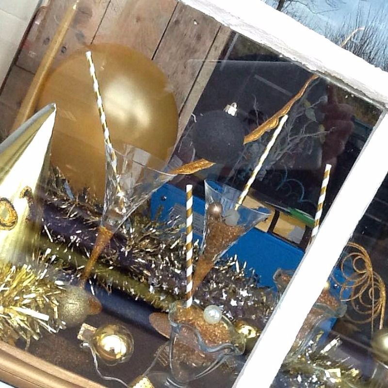 New Year's Eve Window Display at Prima Rosa in Salhouse, Norwich, Norfolk