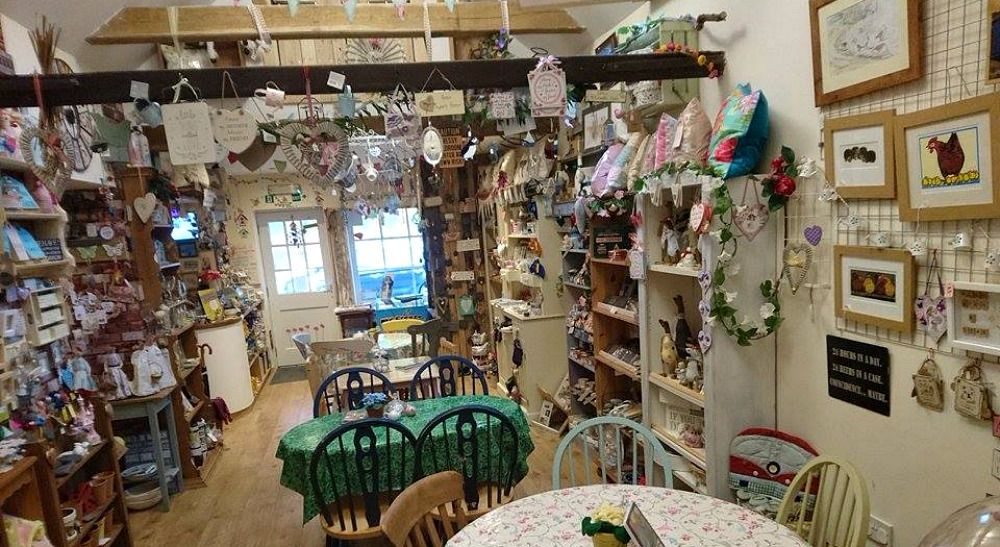 The view inside Prima Rosa Tea Rooms & Crafts at Salhouse near Norwich in Norfolk