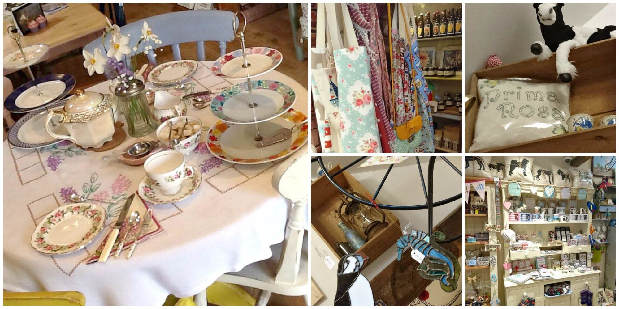 Quirky views and close up of what's inside Prima Rosa Tea Rooms in Salhouse, Norfolk