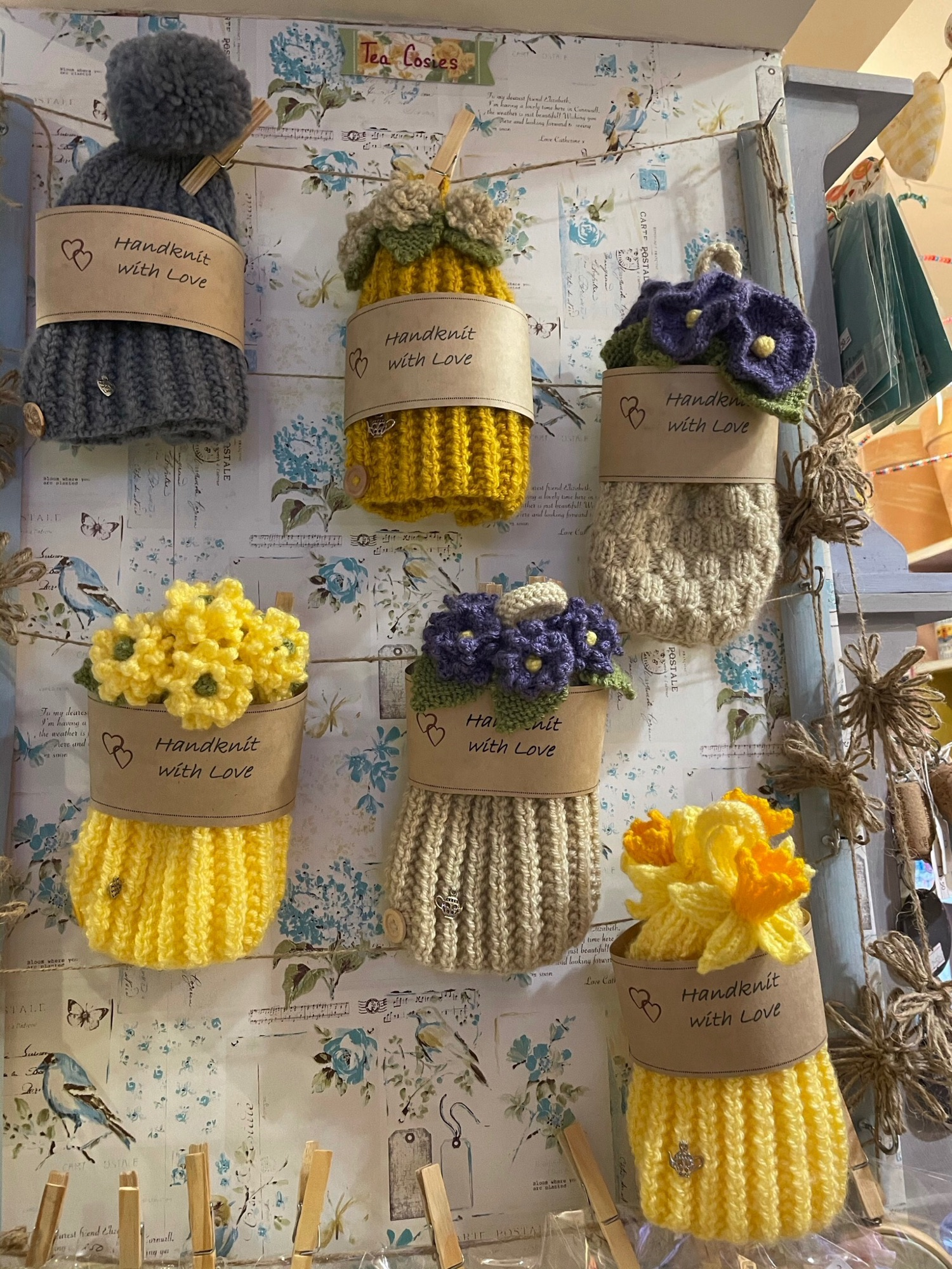 Christines knitted tea~cosies
