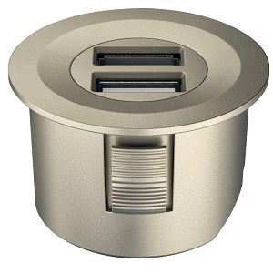 Matt Nickel Hafele Twin Recessed USB Charging Socket with 500mm Lead