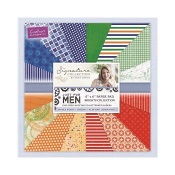 "Just For Men 6"" x 6"" Paper Pad - Brights Collection"