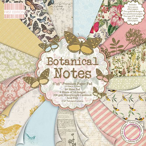 First Edition Botanical Notes 6x 6 Papers