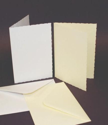 C6 Cards & Envelopes Deckle Edge White (50 Pack)