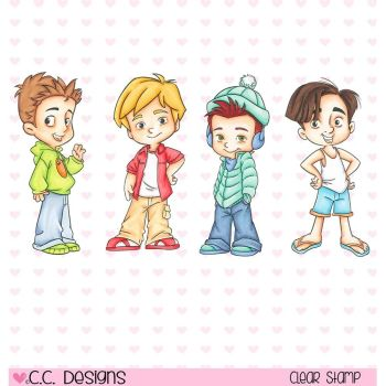 Roberto's Rascals Cling Stamp - 4 Seasons Boys