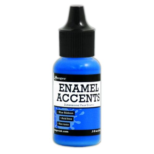 Enamel Accents -Blue Ribbon
