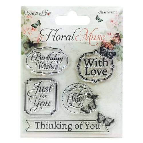 Dovecraft Floral Muse Clear Stamps - Sentiments