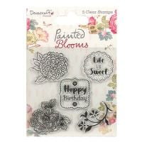 Dovecraft Painted Blooms 5 Clear Stamps