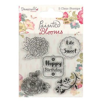 ****NEW**** Dovecraft Painted Blooms 5 Clear Stamps