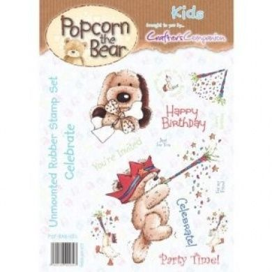 Popcorn the bear, Kids, A6 rubber stamp set - Celebrate