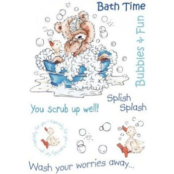 Popcorn the bear, Kids, A6 rubber stamp set - Bath Time