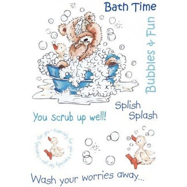 Popcorn the bear, Kids, A6 rubber stamp set - Bath Time