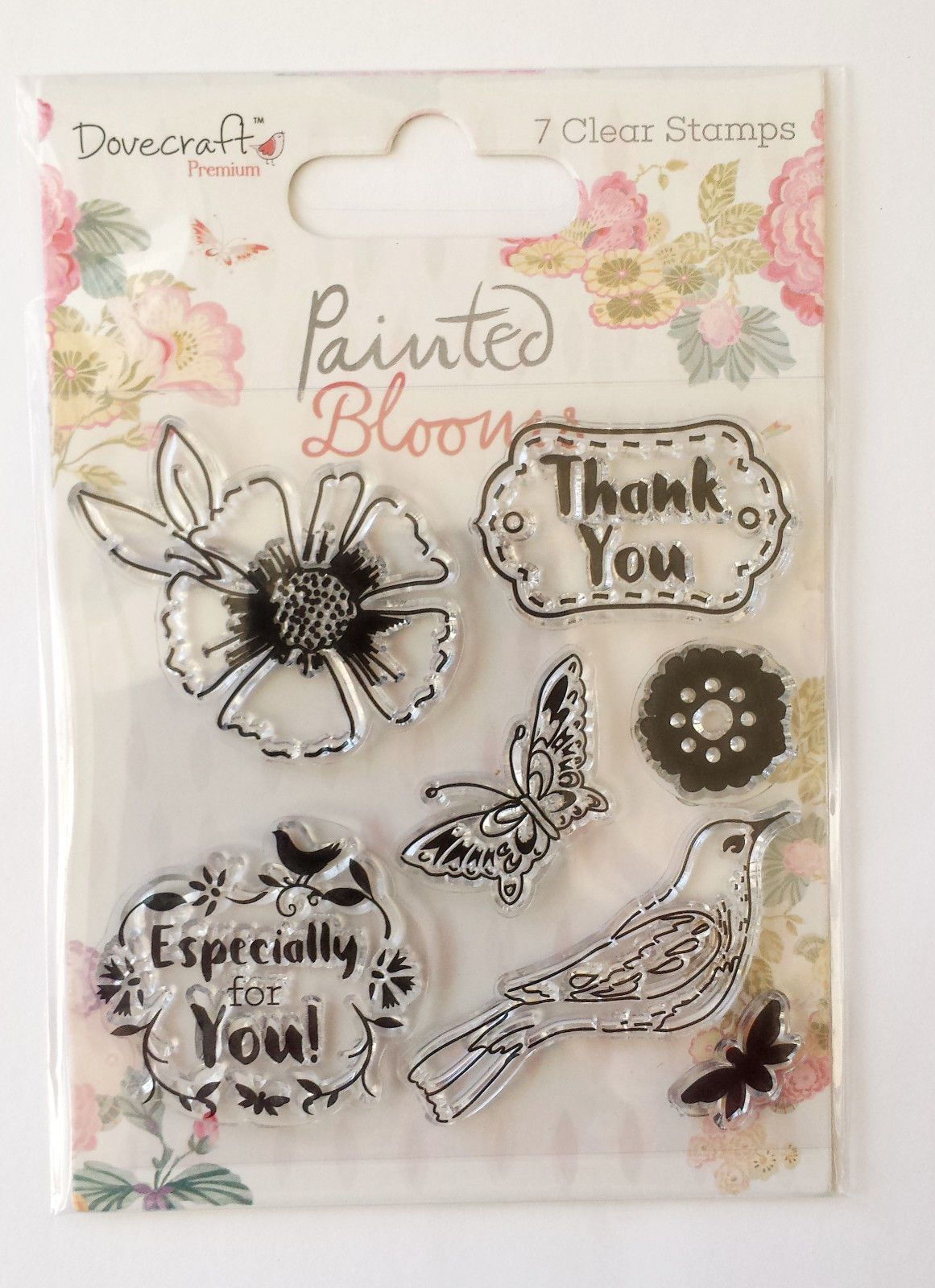 Dovecraft Painted Blooms  Thank you  Clear Stamps