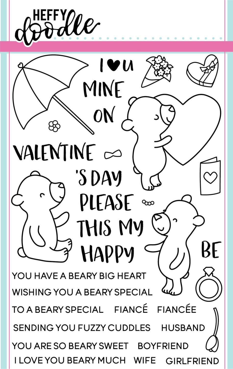 Heffy Doodle - Beary big heart clear stamps