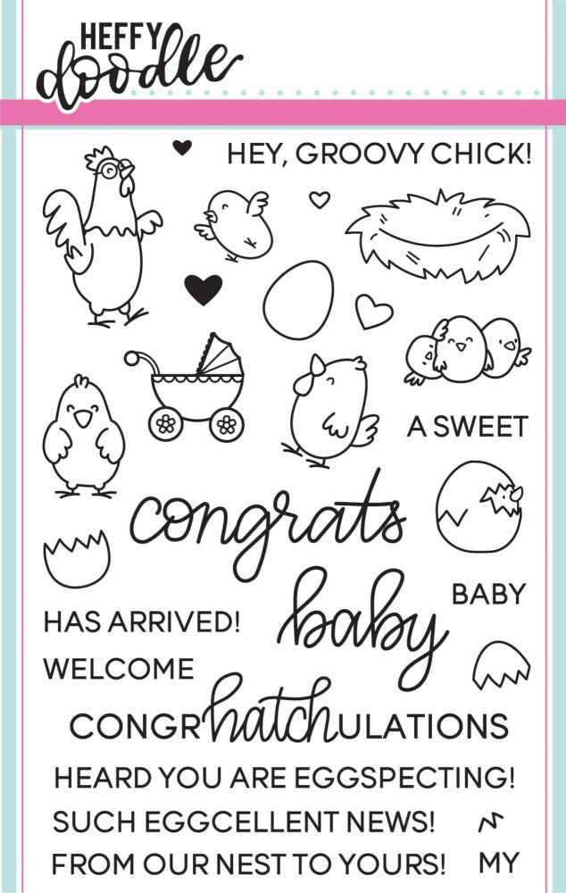Heffy Doodle - Eggcellent news clear stamps
