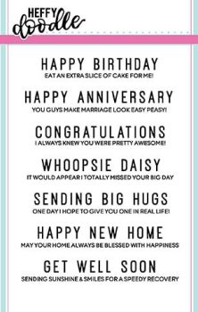 Heffy Doodle - Everyday sentiment duos clear stamps