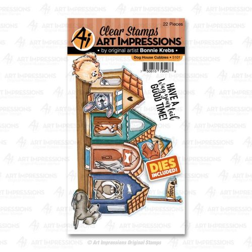 Art Impressions - Dog House Cubbie - stamp and die set