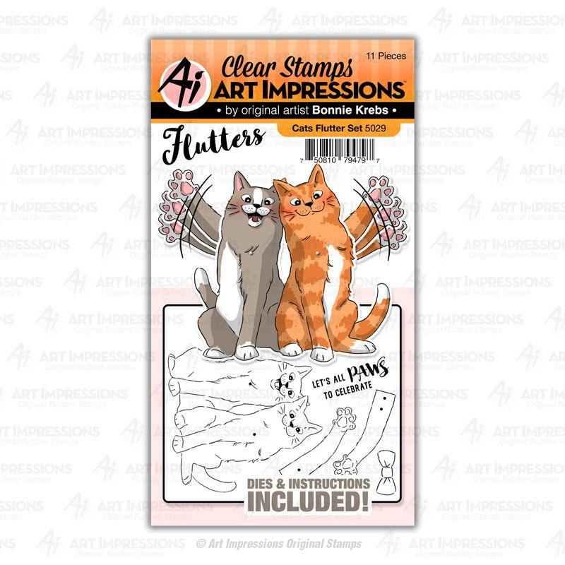 Art Impressions - Cats flutter - stamp and die set