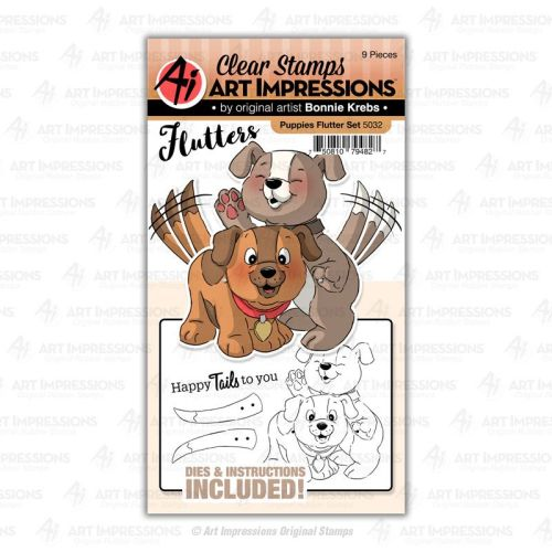 Art Impressions - Puppies flutter - stamp and die set