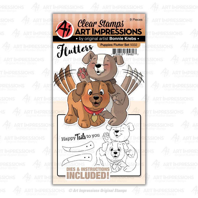 Art Impressions - Puppies flutter - stamp and die set