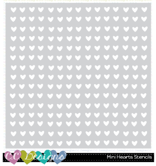 "C.C. Designs - 6"" x 6"" Mini heart stencil"