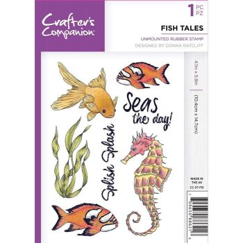 Crafter's Companion Under The Sea A6 Rubber Stamp - Fish Tales