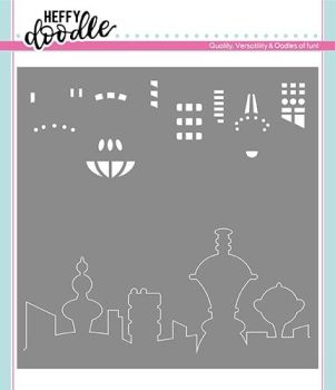 Heffy Doodle - Futuristic Skyline stencil