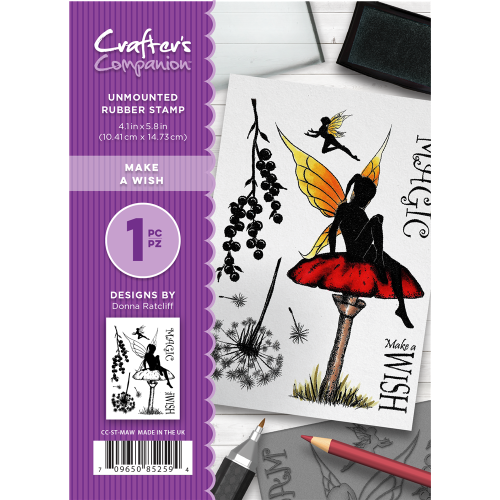 Crafter's Companion  A6 Rubber Stamp - Make a wish