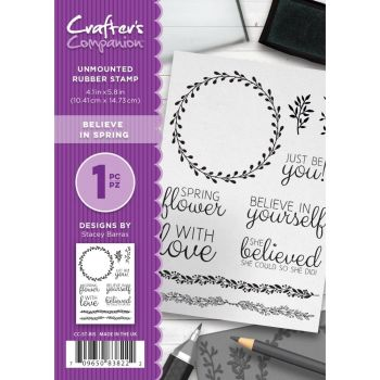 Crafter's Companion  A6 Rubber Stamp - Believe in Spring