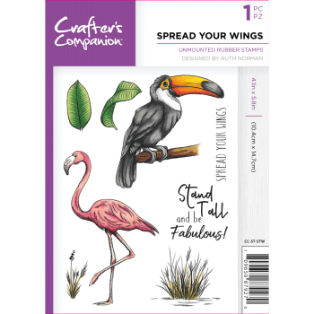 Crafter's Companion  A6 Rubber Stamp - Spread Your Wings
