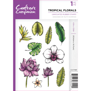 Crafter's Companion  A6 Rubber Stamp - Tropical Florals