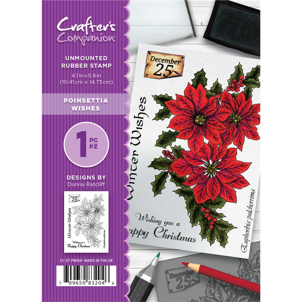 Crafter's Companion  A6 Rubber Stamp - Poinsettia Wishes