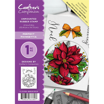 Crafter's Companion  A6 Rubber Stamp - Perfect Poinsettia
