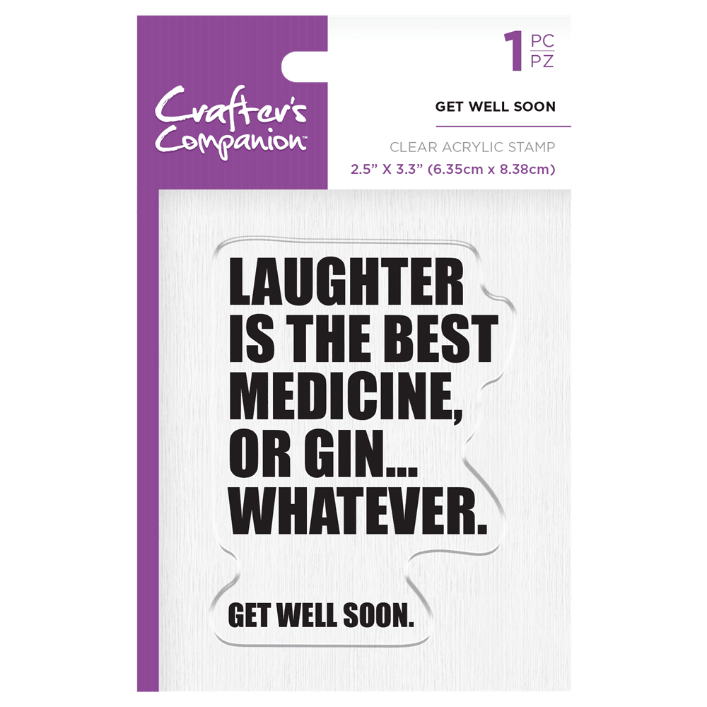 Crafter's Companion Clear Acrylic Stamp - Get Well Soon