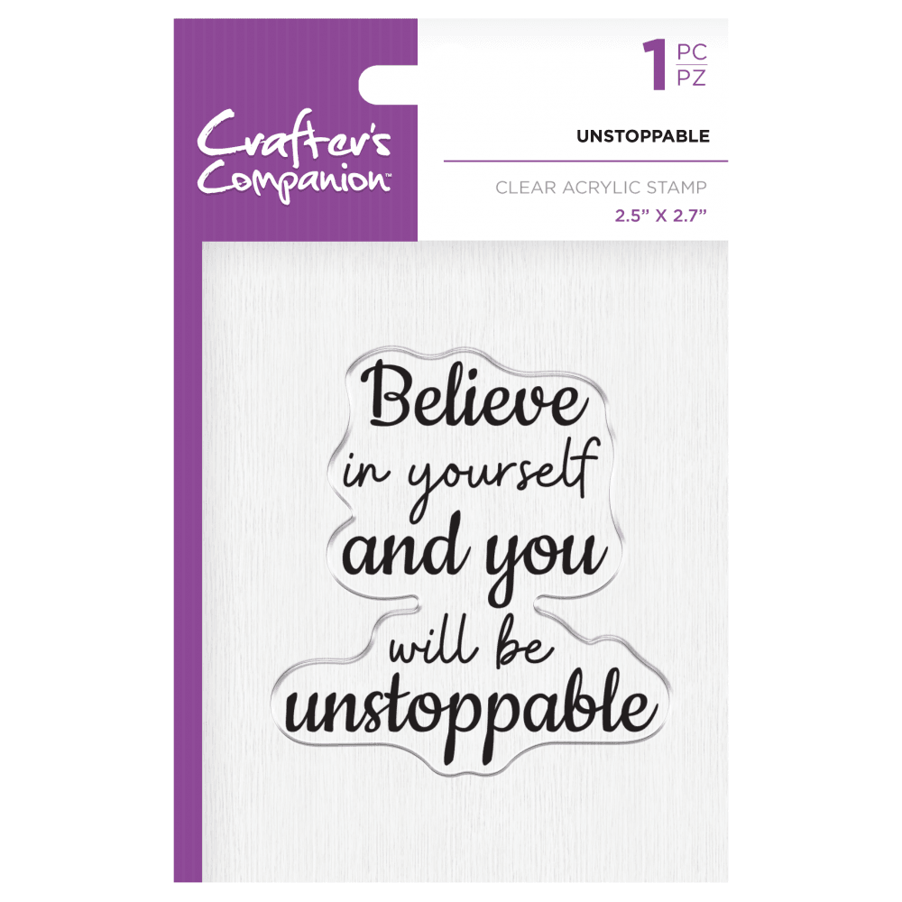 Crafter's Companion Clear Acrylic Stamp - Unstoppable