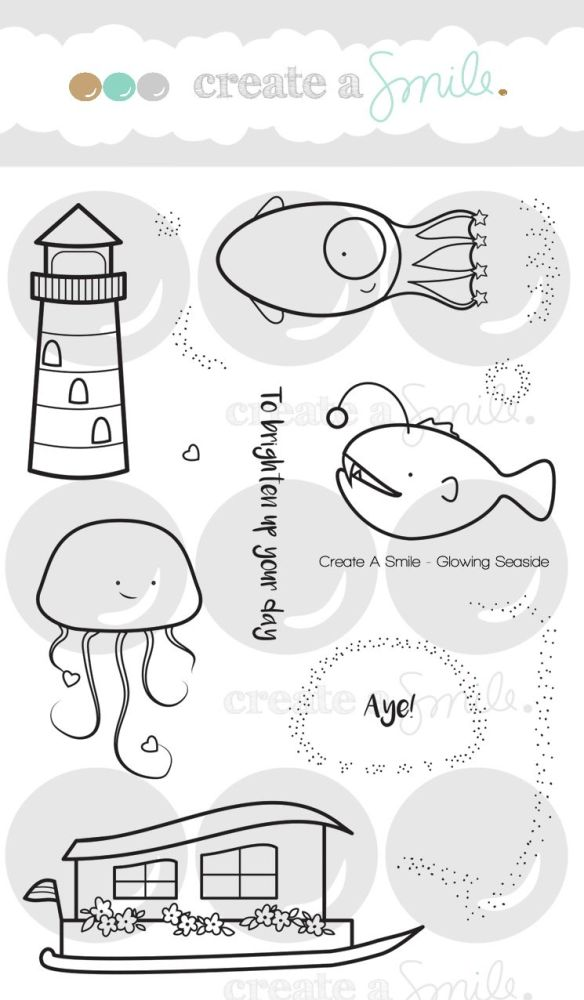 Cretate a smile - Glowing seaside clear stamp