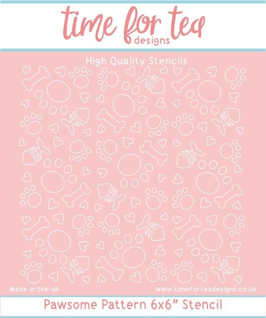 Time For Tea - Pawsome Pattern stencil
