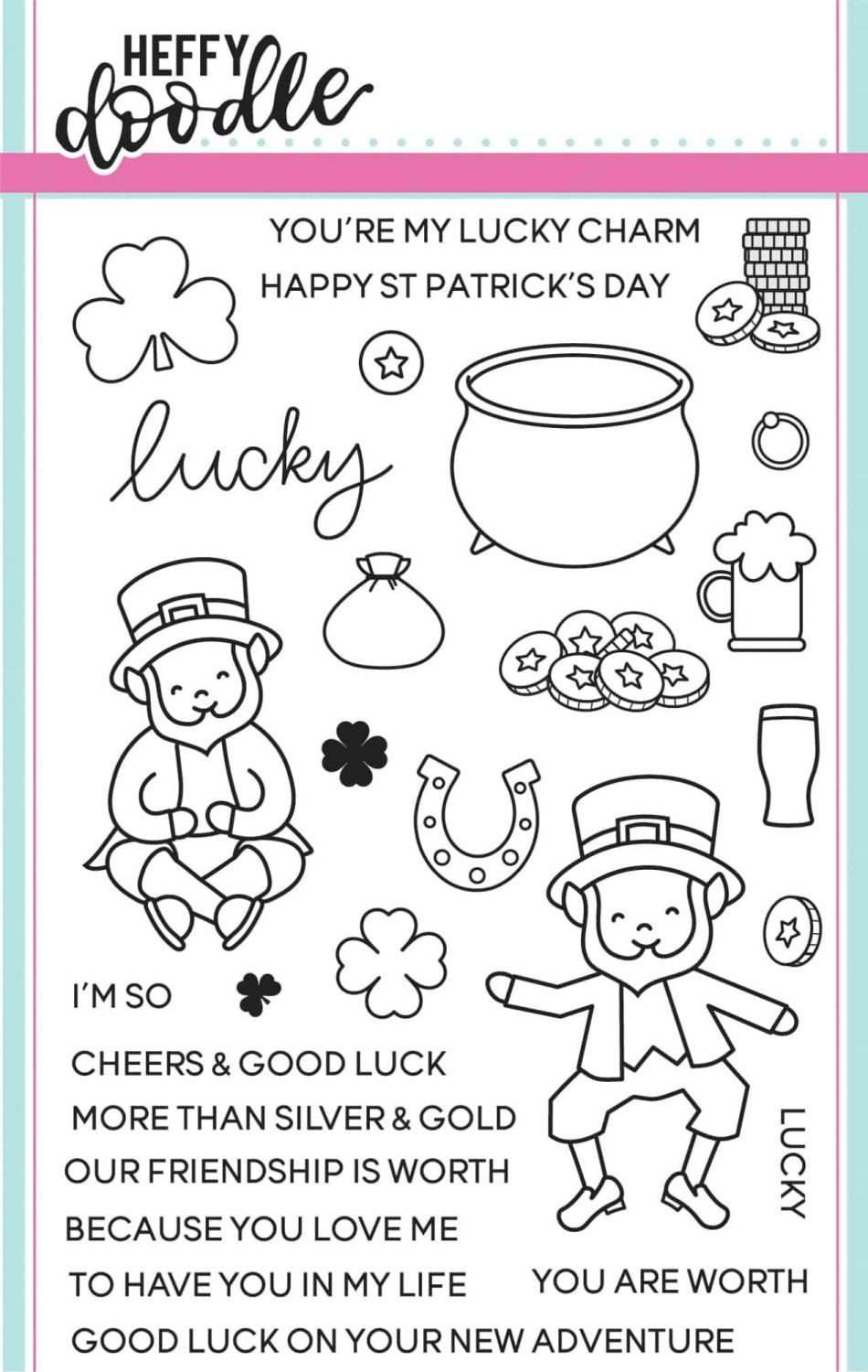 Heffy Doodle - Lucky Friends clear stamps