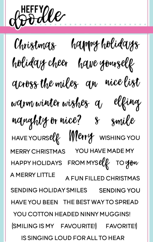 Heffy Doodle - Elfing Christmas Words clear stamps