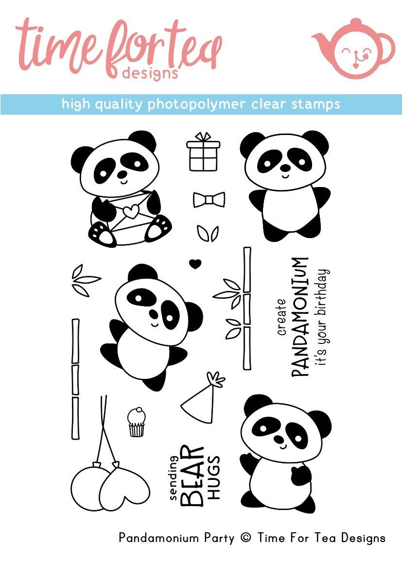 ***NEW***Time For Tea - Pandamonium Party  Clear Stamp Set