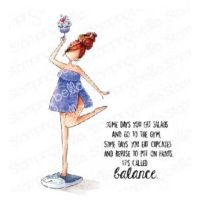Stamping Bella - CURVY GIRL with good balance rubber stamp