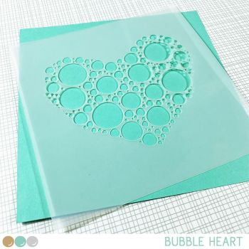 Create a smile - Bubble heart stencil