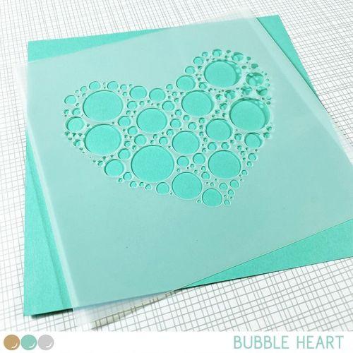 Create a smile - Bubble heart stencil
