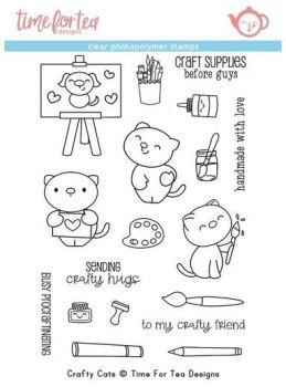 **NEW** Time For Tea - Crafty Cats clear stamp set set