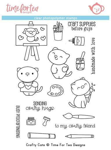 ***NEW*** Time For Tea - Crafty Cats clear stamp set set