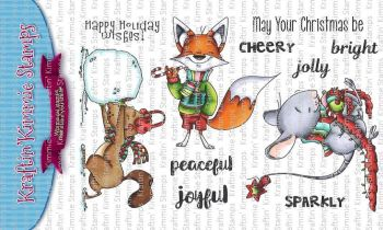 Kraftin' Kimmie - Furry Holiday Wishes! clear stamp set