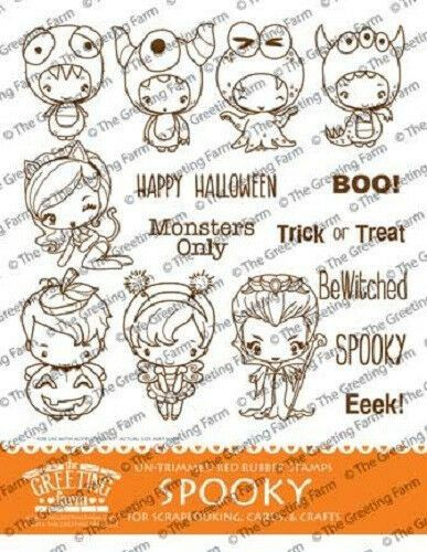 The Greeting Farm - Spooky Kit red rubber stamp set